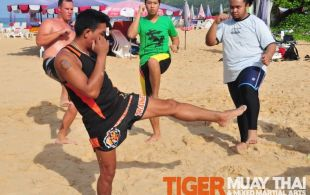 Tiger Muay Thai training on Nai Harn Beach, April 30, 2011
