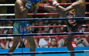 Tiger Muay Thai fighter Polydang fights at Patong Sainamyen Road stadium in Phuket, Thailand, Thursday, Aug. 15, 2013. (Photo by Mitch Viquez ©2013)