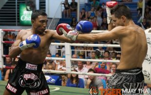 Tiger Muay Thai trainer Don fights at Bangla boxing stadium in Phuket, Thailand, Wednesday, Aug. 28, 2013. (Photo by Mitch Viquez ©2013)