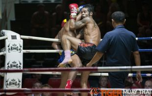 Marcel Gaines fights at Patong stadium in Phuket, Thailand, Monday, May. 20, 2013. (Photo by Mitch Viquez ©2013)