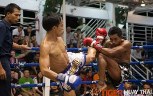 Tiger Muay Thai fighter Phetdam fights at Bangla boxing stadium in Phuket, Thailand, Wednesday, Sep. 11, 2013. (Photo by Mitch Viquez ©2013)