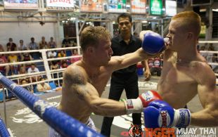 Bevan O'Malley fights at Bangla boxing stadium in Phuket, Thailand, Wednesday, Sep. 25, 2013. (Photo by Mitch Viquez ©2013)