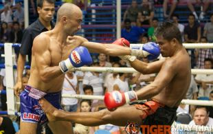 Tiger Muay Thai trainer Pong fights at Bangla boxing stadium in Phuket, Thailand, Wednesday, Aug. 14, 2013. (Photo by Mitch Viquez ©2013)