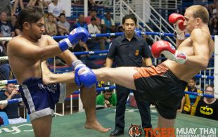 Tom Harbert fights at Bangla boxing stadium in Phuket, Thailand, Wednesday, Aug. 14, 2013. (Photo by Mitch Viquez ©2013)