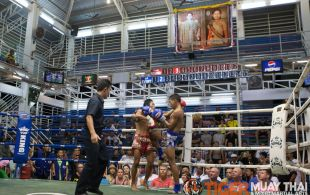 Tiger Muay Thai fighter Hongthong fights at Bangla boxing stadium in Phuket, Thailand, Wednesday, Aug. 14, 2013. (Photo by Mitch Viquez ©2013)