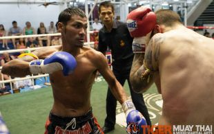 Tiger Muay Thai fighter Polydang fights at Bangla boxing stadium in Phuket, Thailand, Friday, Aug. 2, 2013. (Photo by Mitch Viquez ©2013)