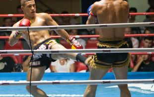 Tiger Muay Thai fighter Kai Kara France fights at Patong Sainamyen Road stadium in Phuket, Thailand, Thursday, Aug. 29, 2013. (Photo by Mitch Viquez ©2013)