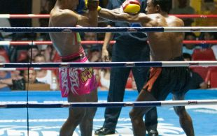 Tiger Muay Thai fighter Petdam fights at Patong Sainamyen Road stadium in Phuket, Thailand, Thursday, Aug. 8, 2013. (Photo by Mitch Viquez ©2013)