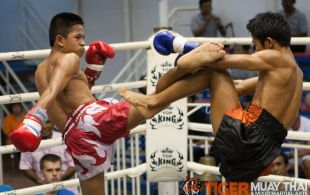 Tiger Muay Thai fighter Hongthong fights at Bangla stadium in Phuket, Thailand, Wednesday, Jul. 17, 2013. (Photo by Mitch Viquez ©2013)