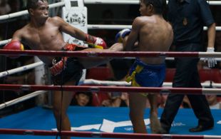 Tiger Muay Thai fighter Phongchai fights at Patong Sainamyen Road stadium in Phuket, Thailand, Monday, Jul. 22, 2013. (Photo by Mitch Viquez ©2013)