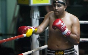 Raj Jaswani fights at Patong Sainamyen Road stadium in Phuket, Thailand, Thursday, Jul. 25, 2013. (Photo by Mitch Viquez ©2013)