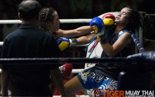 Laura Napolitano fights at Patong Sainamyen Road stadium in Phuket, Thailand, Monday, Jul. 29, 2013. (Photo by Mitch Viquez ©2013)