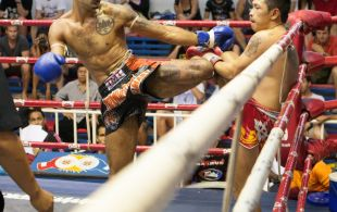 Marcel Gaines fights at Bangla stadium in Phuket, Thailand, Wednesday, Jul. 3, 2013. (Photo by Mitch Viquez ©2013)