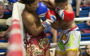 Tiger Muay Thai fighter Hongthong fights at Bangla stadium in Phuket, Thailand, Wednesday, Jul. 3, 2013. (Photo by Mitch Viquez ©2013)
