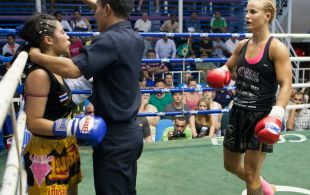 Madeline Vall fights at Bangla stadium in Phuket, Thailand, Friday, Jun. 7, 2013. (Photo by Mitch Viquez ©2013)
