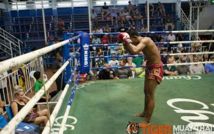 Tiger Muay Thai fighter Petdam fights at Bangla stadium in Phuket, Thailand, Friday, Jun. 7, 2013. (Photo by Mitch Viquez ©2013)