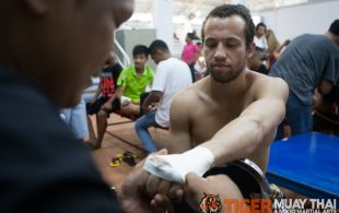 Caleb Archer fights at Bangla Stadium in Phuket, Thailand, Wednesday, May. 15, 2013. (Photo by Mitch Viquez ©2013)