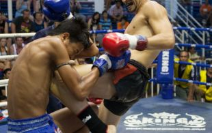 Nicolas Mangiaillang fights at Bangla Stadium in Phuket, Thailand, Friday, May. 3, 2013. (Photo by Mitch Viquez ©2013)