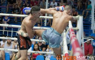 Bruno Mangiaillang fights at Bangla Stadium in Phuket, Thailand, Friday, May. 3, 2013. (Photo by Mitch Viquez ©2013)