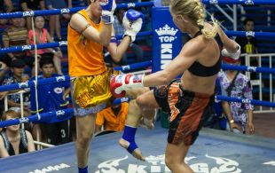 Sunna Daviosdottir fights at Bangla Stadium in Phuket, Thailand, Wednesday, May. 8, 2013. (Photo by Mitch Viquez ©2013)