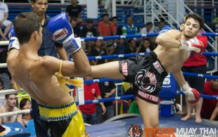 Moussa Alharthi fights at Bangla boxing stadium in Phuket, Thailand, Friday, Sep. 6, 2013. (Photo by Mitch Viquez ©2013)