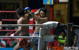 Tiger Muay Thai Trainer Ngoo at Patong Sainamyen Road stadium in Phuket, Thailand, Thursday, Sep. 26 2013. (Photo by Mitch Viquez ©2013)